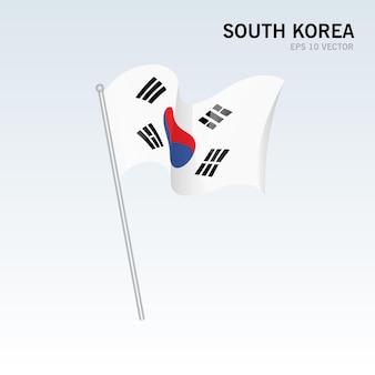 Zuid-korea zwaaiende vlag geïsoleerd op grijs