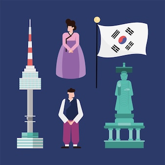 Zuid-koreaanse icoon collectie op blauwe achtergrond