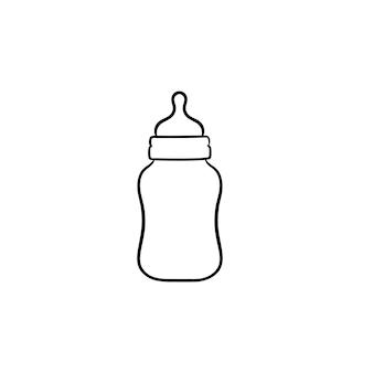 Zuigfles voor pasgeboren baby hand getrokken schets doodle pictogram. fles voor drinkwater met tepel schets vectorillustratie voor print, web, mobiel en infographics geïsoleerd op een witte achtergrond.