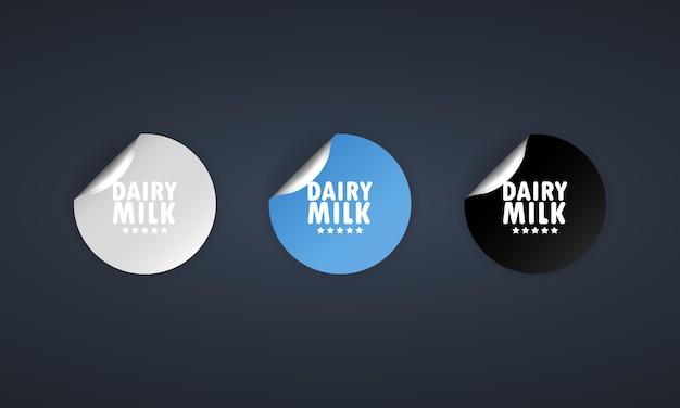 Zuivel melk pictogram. stickerset. kortingsvector. zuivel melk etiketten set. zwarte, rode en witte ronde cirkelmarkeringen. verkoop tags badges sjabloon. kortingsactie. vector illustratie. eps10