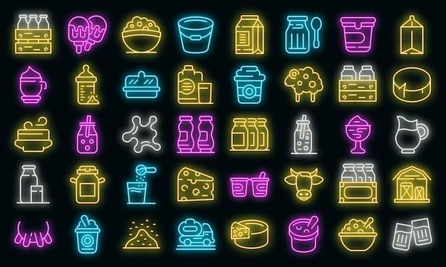 Zuivel pictogrammen instellen. overzicht set van zuivel vector iconen neon kleur op zwart