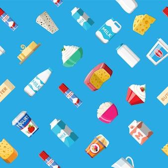 Zuivelproducten instellen naadloos patroon. inzameling van melkvoedsel. melk, kaas, yoghurt, boter, zure room, cottage, room. traditionele landbouwproducten. vectorillustratie in vlakke stijl