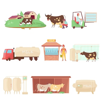 Zuivelproducten met platte geïsoleerde afbeeldingen van melkveebedrijfpictogrammen van landbouwdieren met illustratie van menselijke karakters