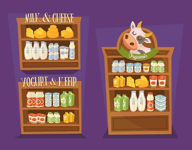 Zuivelproducten set met schappen van supermarkten