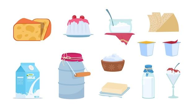Zuivelproducten. witte melkbussen, plakjes kaas, boterbaksteen, bakjes yoghurt en ijs. vector set geïsoleerde illustratie van cartoon melkproducten