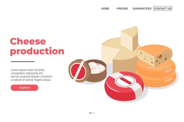 Zuivelproductie pagina-ontwerp met isometrische kaasproductiesymbolen
