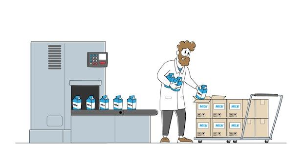 Zuivelvoedselverpakking, industrieel automatiseringsproces.