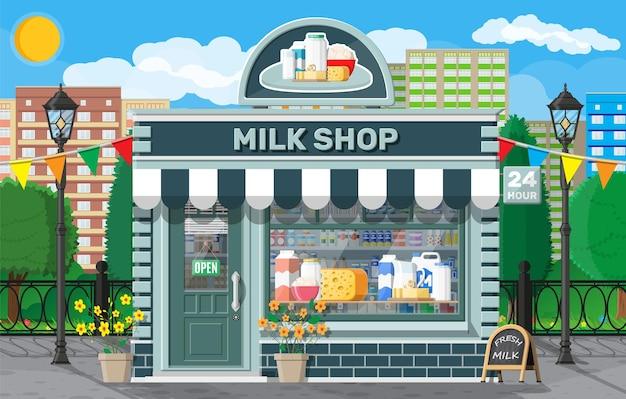Zuivelwinkel of melkwinkel met uithangbord, luifel