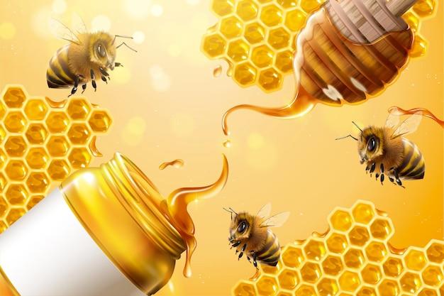 Zuivere honingadvertenties met bijen en honingraat in 3d illustratie op glitter gele achtergrond