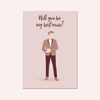 Zul je mijn getuige zijn cute cartoon character portrait of wedding bestman