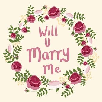 Zult u met me met een bloemenkrans met een bruiloft trouwen