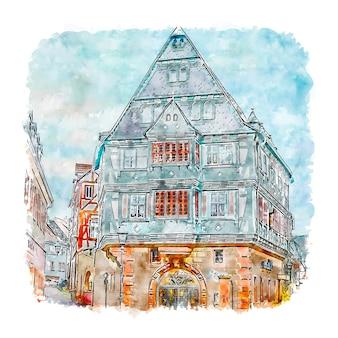 Zum riesen miltenberg duitsland aquarel schets hand getrokken illustratie
