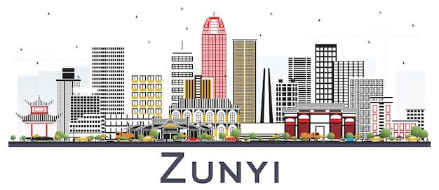 Zunyi china city skyline met grijze gebouwen geïsoleerd op wit. vectorillustratie. zakelijk reizen en toerisme concept met moderne architectuur. zunyi stadsgezicht met monumenten.