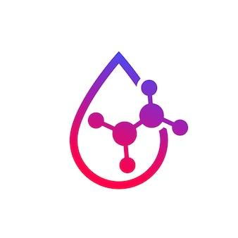 Zure druppel icoon met een molecuul