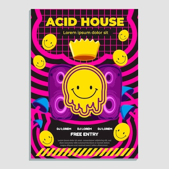 Zure emoji poster platte ontwerpsjabloon