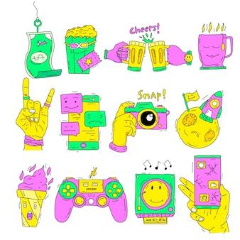 Zure kleuren handgetekende grappige sticker set