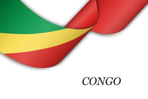 Zwaaien lint of banner met vlag van congo.