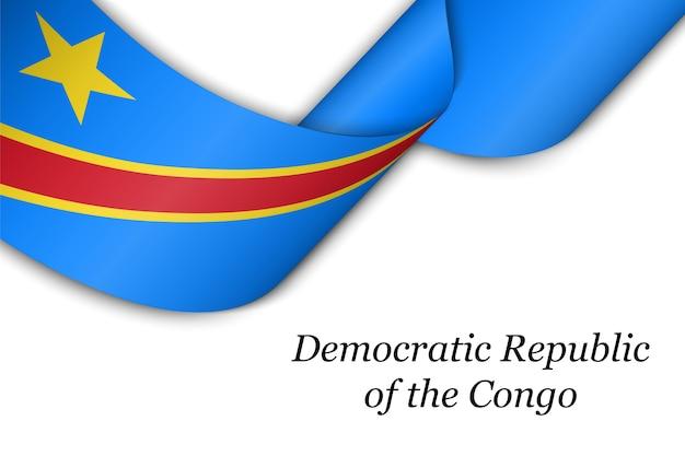 Zwaaien lint of banner met vlag van de democratische republiek congo.