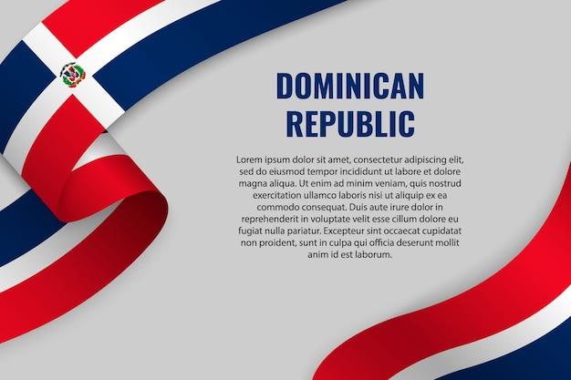 Zwaaien lint of banner met vlag van dominicaanse republiek