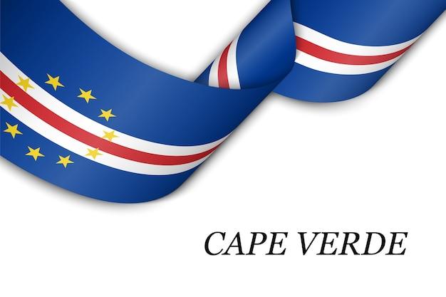 Zwaaien lint of banner met vlag van kaapverdië.