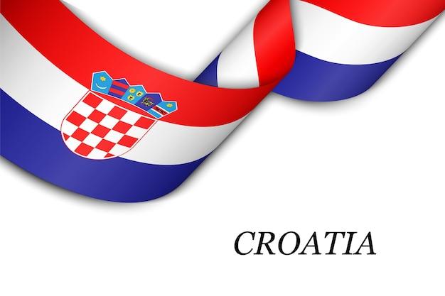 Zwaaien lint of banner met vlag van kroatië.