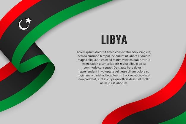 Zwaaien lint of banner met vlag van libië
