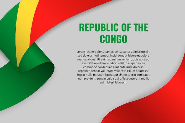 Zwaaien lint of banner met vlag van republiek congo