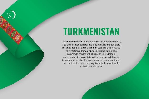 Zwaaien lint of banner met vlag van turkmenistan