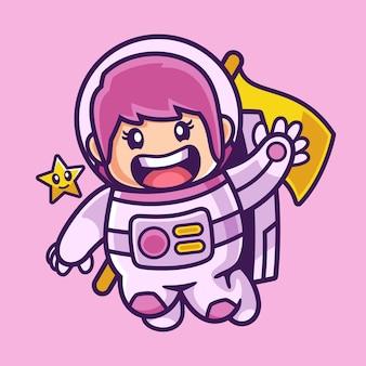 Zwaaiend astronaut meisje stripfiguur