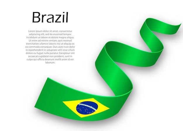 Zwaaiend lint of spandoek met vlag van brazilië. sjabloon voor posterontwerp voor onafhankelijkheidsdag