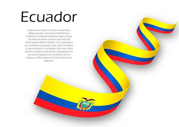 Zwaaiend lint of spandoek met vlag van ecuador. sjabloon voor posterontwerp voor onafhankelijkheidsdag