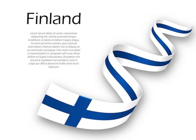 Zwaaiend lint of spandoek met vlag van finland. sjabloon voor posterontwerp voor onafhankelijkheidsdag