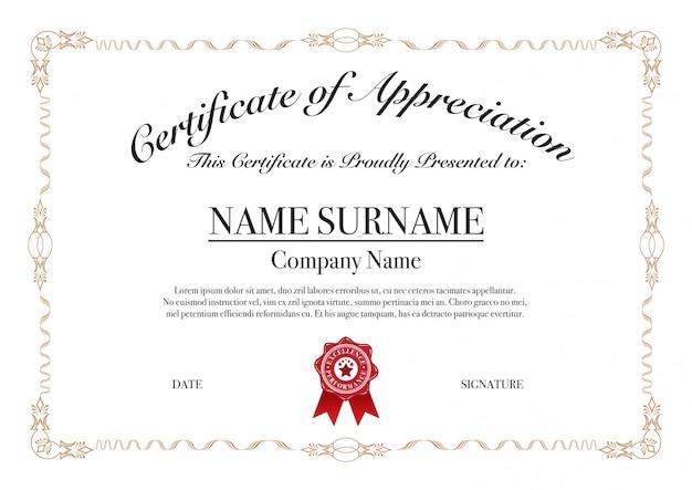 Zwaaiend met 3 strepenrand voor certificaat van waardering