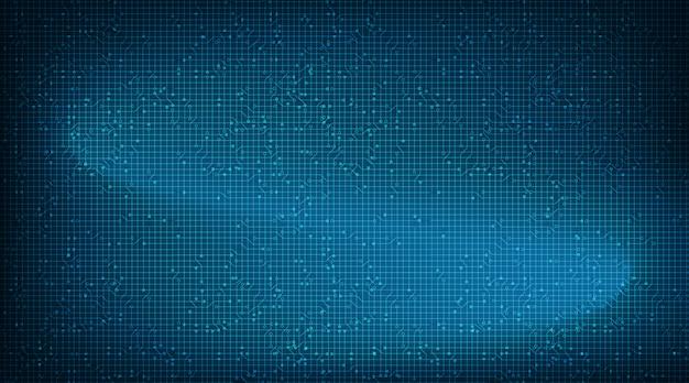 Zwaaiende blue circuit microchip-technologie op toekomstige achtergrond