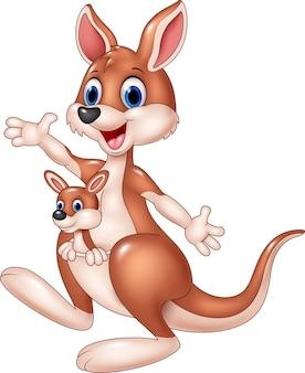 Zwaaiende hand van de beeldverhaal de leuke kangoeroe met babyjoey