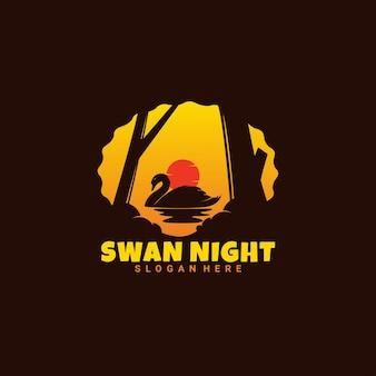 Zwaan die in donkere logo-stijl zwemt