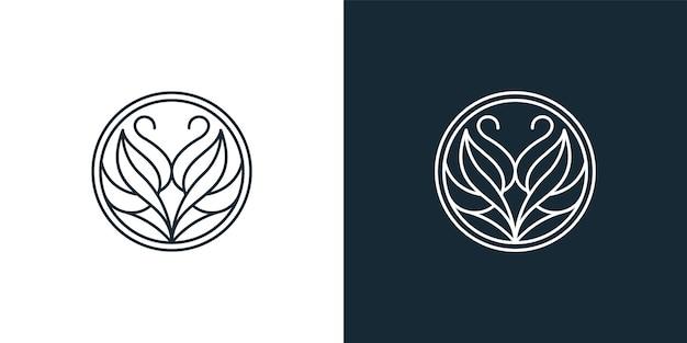 Zwaan mono lijn logo ontwerpsjabloon