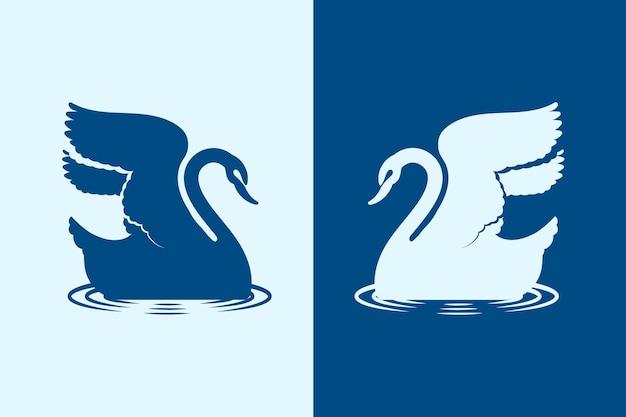 Zwaan silhouet geïllustreerd thema