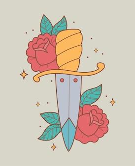 Zwaard bloemen illustratie