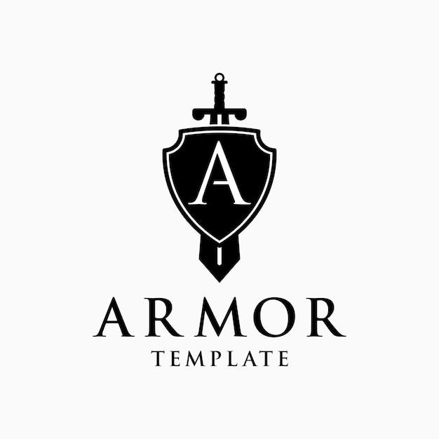 Zwaard en schild beginletter a voor armor logo ontwerpsjabloon