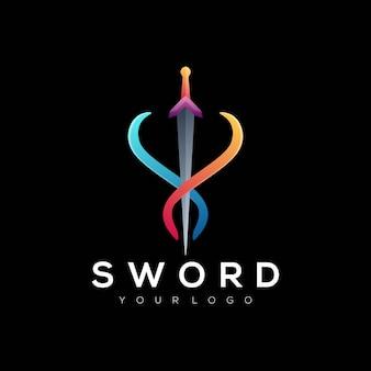 Zwaard logo ontwerp vector modern kleurrijk