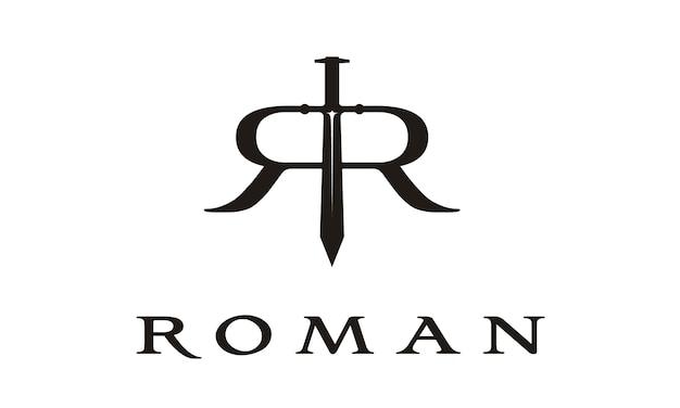 Zwaard met initial r roman logo-ontwerp