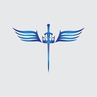 Zwaard met vleugels en koning vector afbeelding