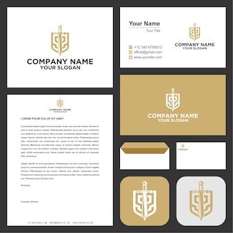 Zwaard schild logo ontwerp premium
