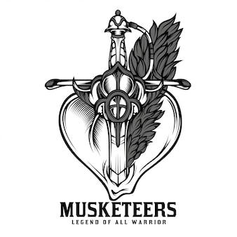 Zwaard van musketeers zwart en wit illustratie