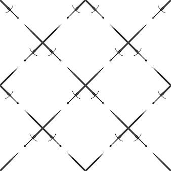 Zwaard, vector naadloos patroon, bewerkbaar kan worden gebruikt voor webpagina-achtergronden, opvulpatronen