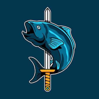Zwaard vis esport spel vector logo badge ontwerp