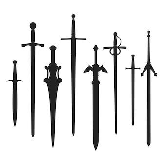 Zwaarden silhouet wapen. clip art middeleeuwse vorm.