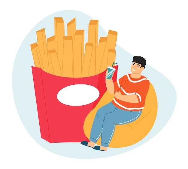 Zwaarlijvige man. te veel eten leidt tot zwaarlijvigheid, dikke man met fastfood, gulzigheidsproblemen.