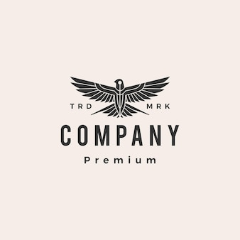 Zwaluw vogel brullen vlieg hipster vintage logo sjabloon Premium Vector